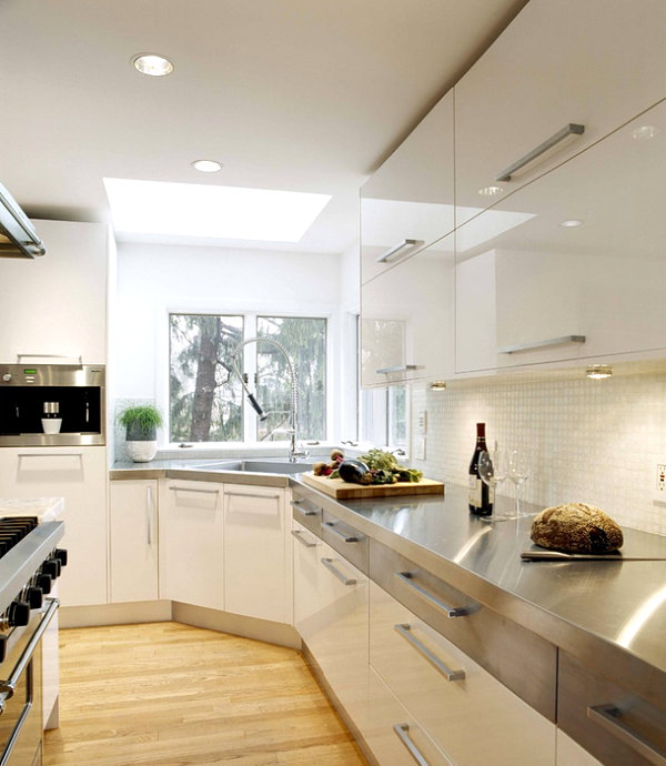 View In Gallery Modern White Kitchen With Stainless Steel Countertops