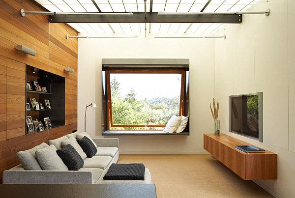 Modern wooden media console