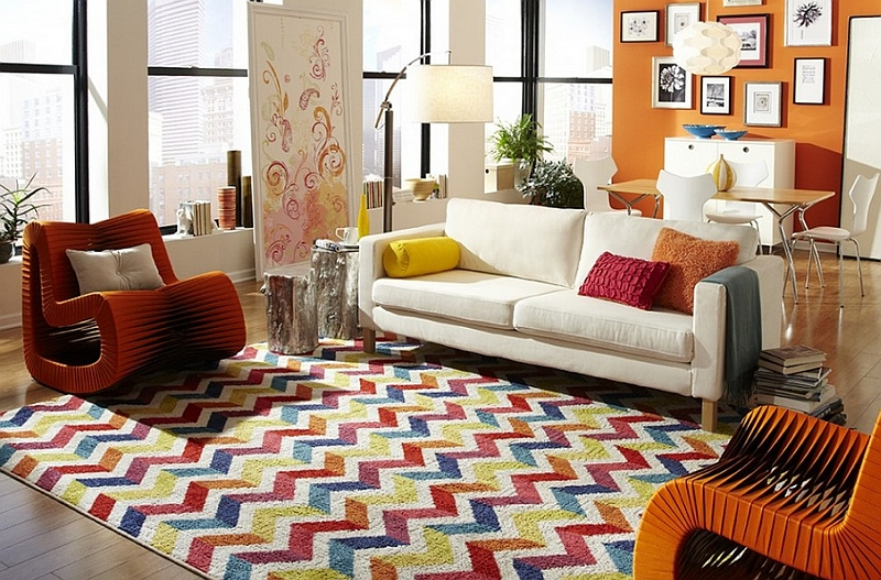 Multicolored chevron pattern rug for the living room