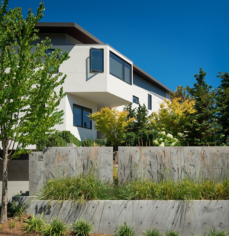 Narrow lot defines the form of the Madrona House Elegant Seattle Home Enthralls With Spectacular Lake Washington Views