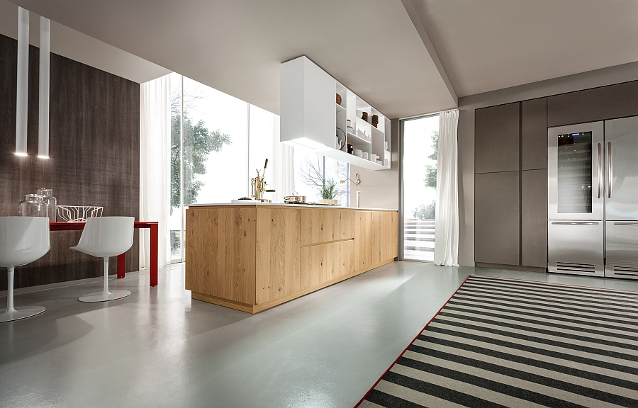 Natural wood coupled with glossy matt surfaces in the kitchen