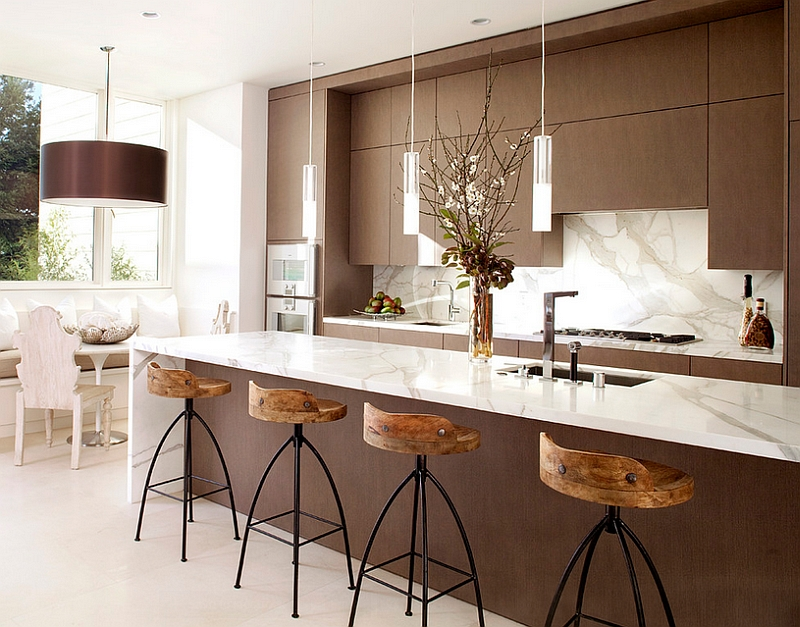 Notice how the large pendant light is the one that draws your attention instantly
