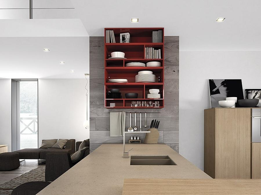 Open kitchen shelf in fiery red