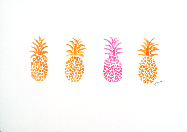 Original pineapple watercolor painting from Etsy shop Jaschlos