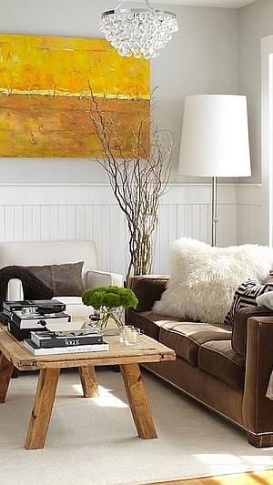 Oversized floor lamp in the Scandinavian Style Room