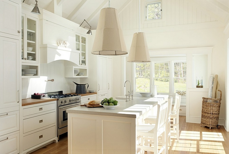 Oversized pendants for thebeach style  kitchen