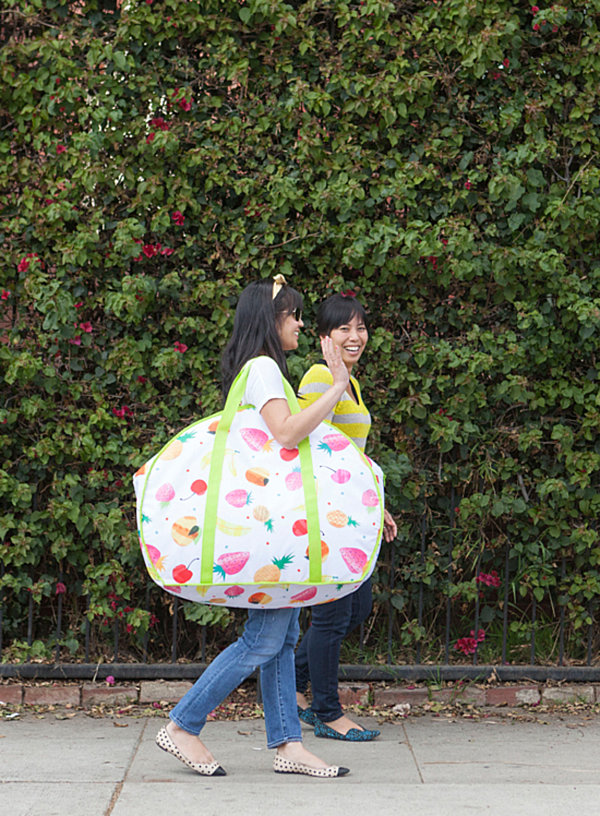 Oversized sample of an upcoming fruit-motif bag from the Oh Joy! for Target Summer Collection
