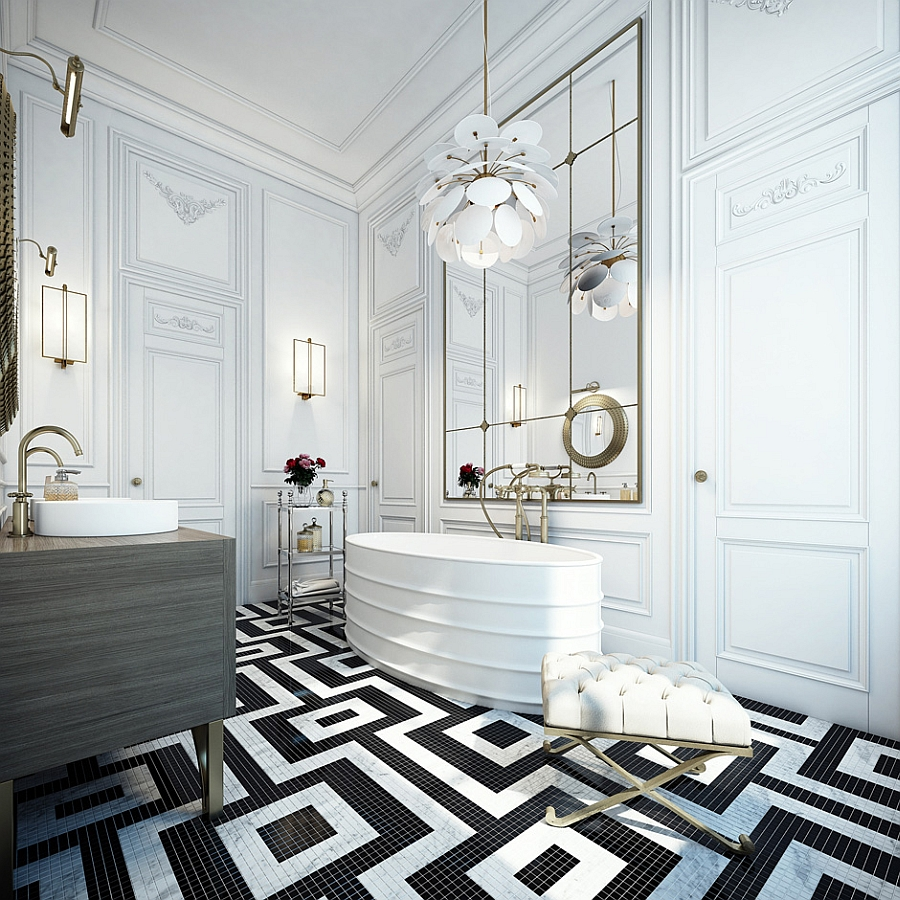 PH Lighting in the amazing black and white bathroom