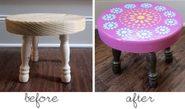 Painted footstool makeover