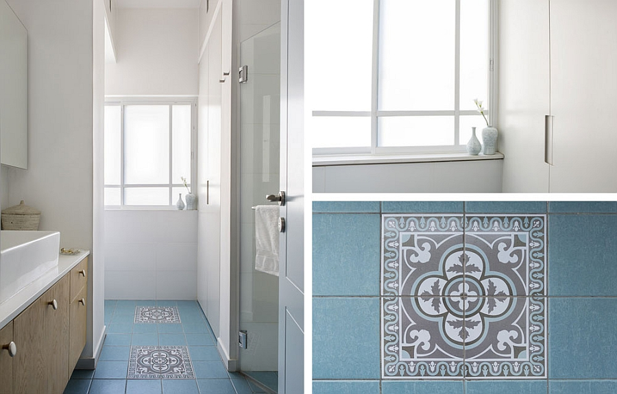 Painted tiles and floating cabinets in the bathroom