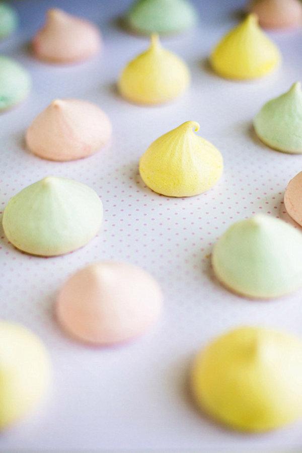 Pastel Easter meringues