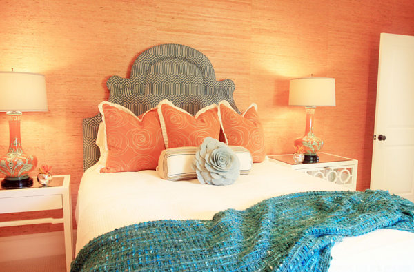 Peach and blue bedroom