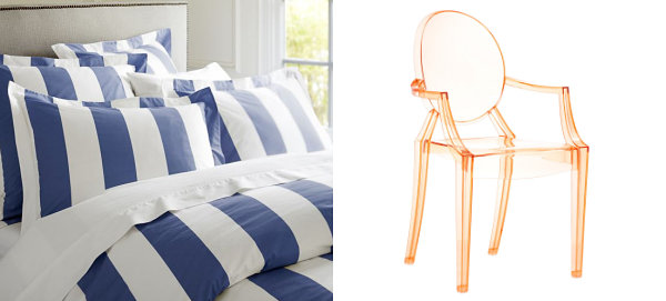Peach and blue interior design finds