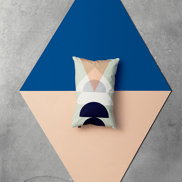 Peach meets cobalt in a geometric display