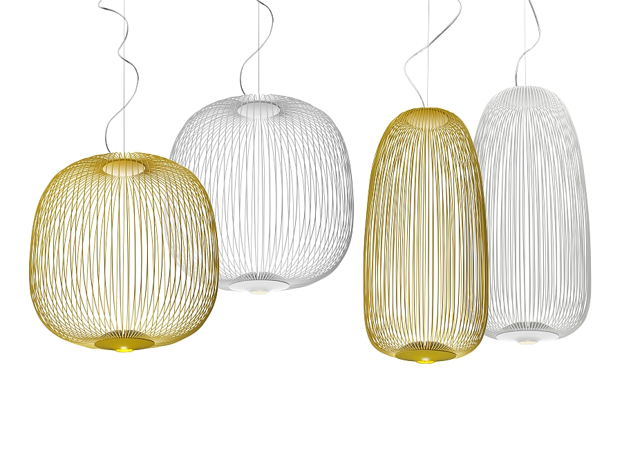 Pendant lamps inspired by the spokes of a bicycle wheel