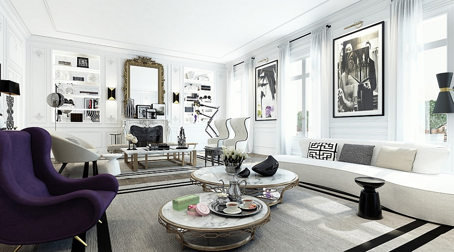 Plush purple accent in the monochromatic living room