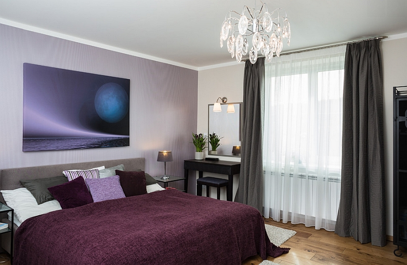View In Gallery Plush Violets And Purples In The Bedroom With Sheer Drapes