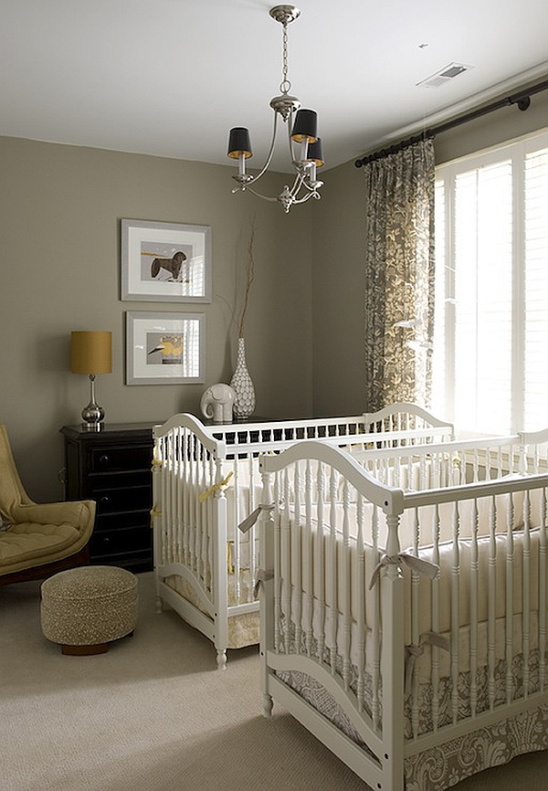 Pops of yellow in the cool nursery Gender Neutral Nurseries Deliver A Bundle of Joy!
