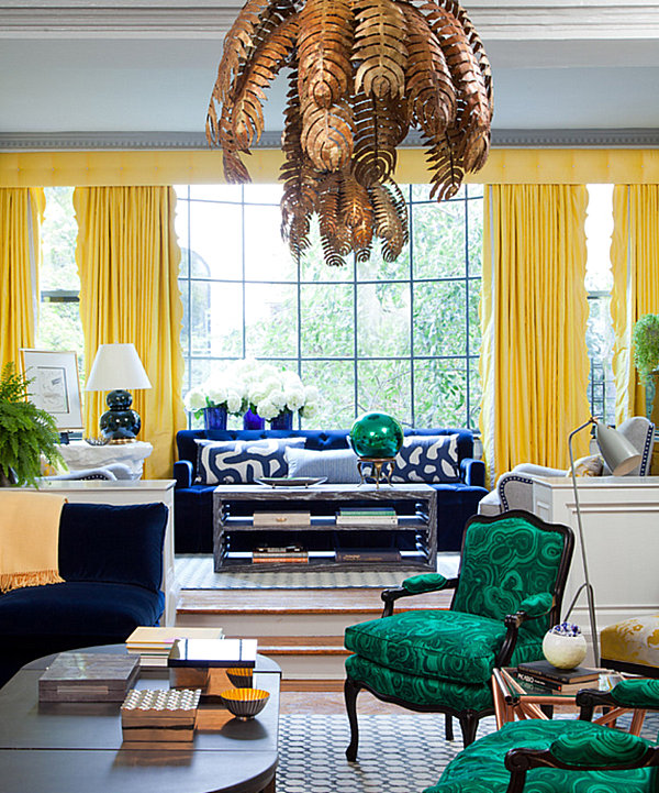 Radiant living room with yellow and green details