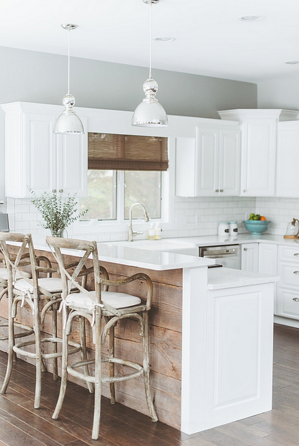 Reclaimed wood for the kitchen island