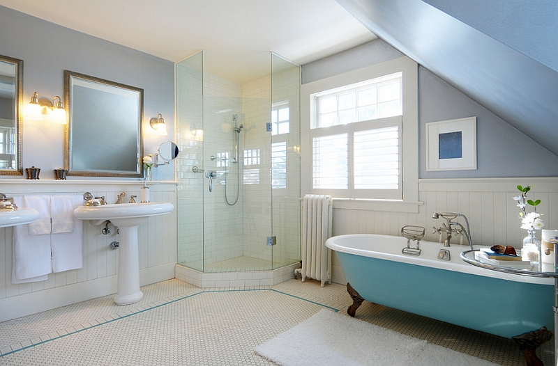 Relaxing bathroom with a beautiful splash of blue