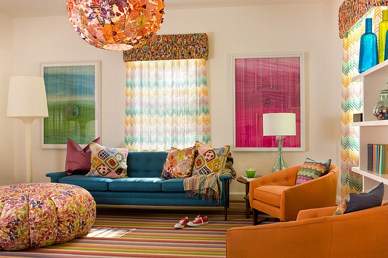 Retro Living Room Ideas chevron pattern ideas for living rooms: rugs, drapes and accent