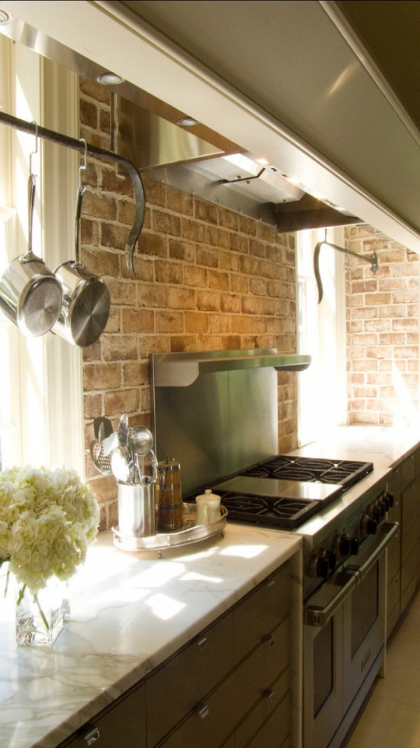 Rustic brick backsplash
