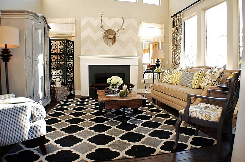 Rustic chic living room with a subtle chevron pattern above the fireplace