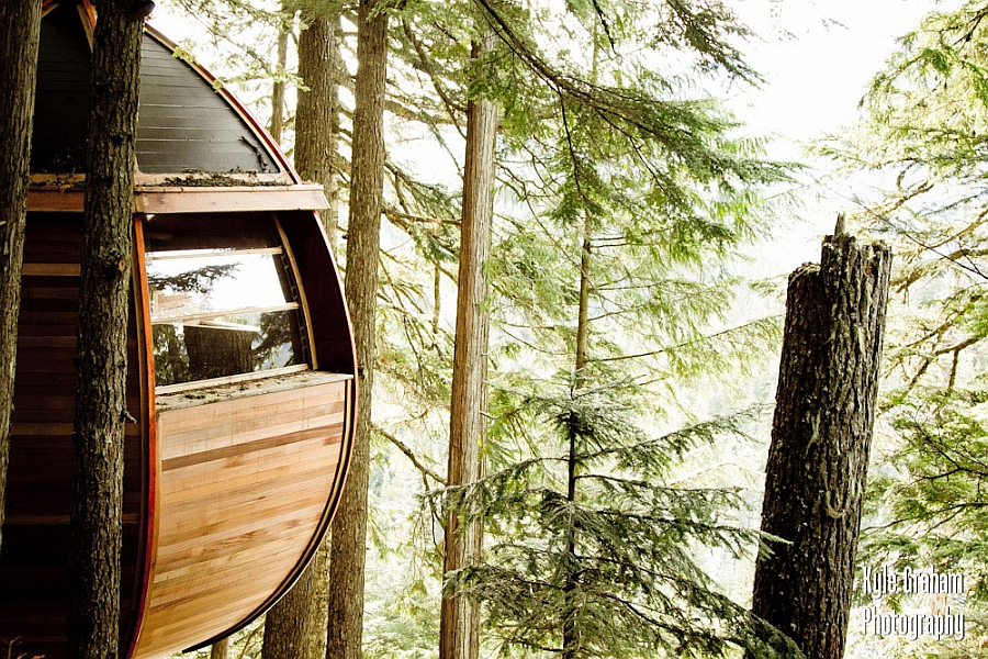 Serene treehouse retreat in the woods of British Columbia