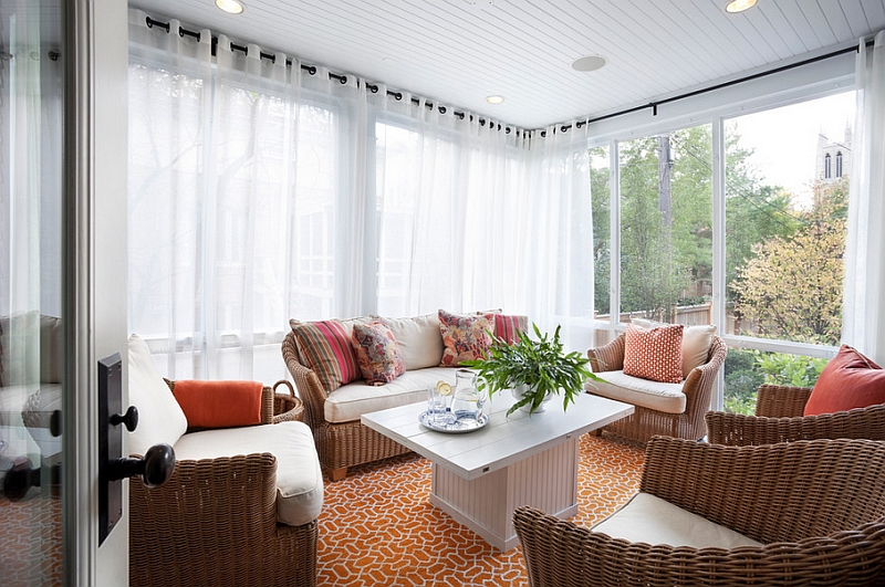 Sheer curtains in white for the modern sunroom