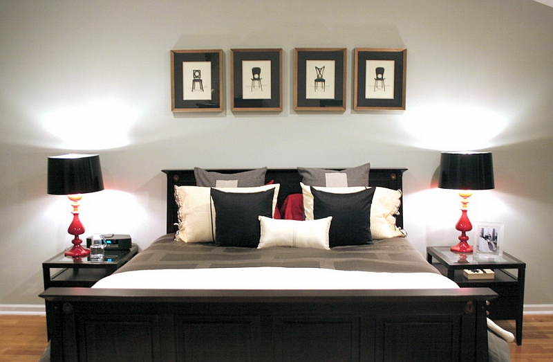 Black And White And Red Bedroom bold black and white bedrooms with bright pops of color