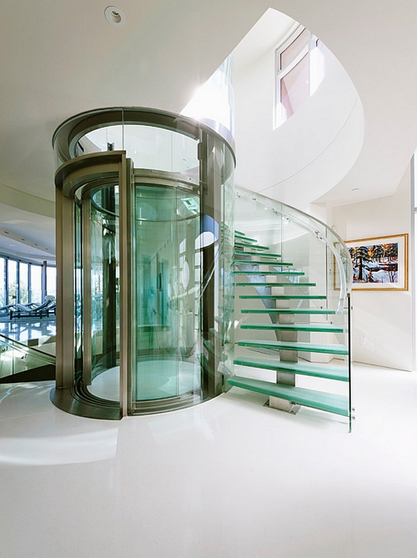 Sizzling glass elevator and staircase