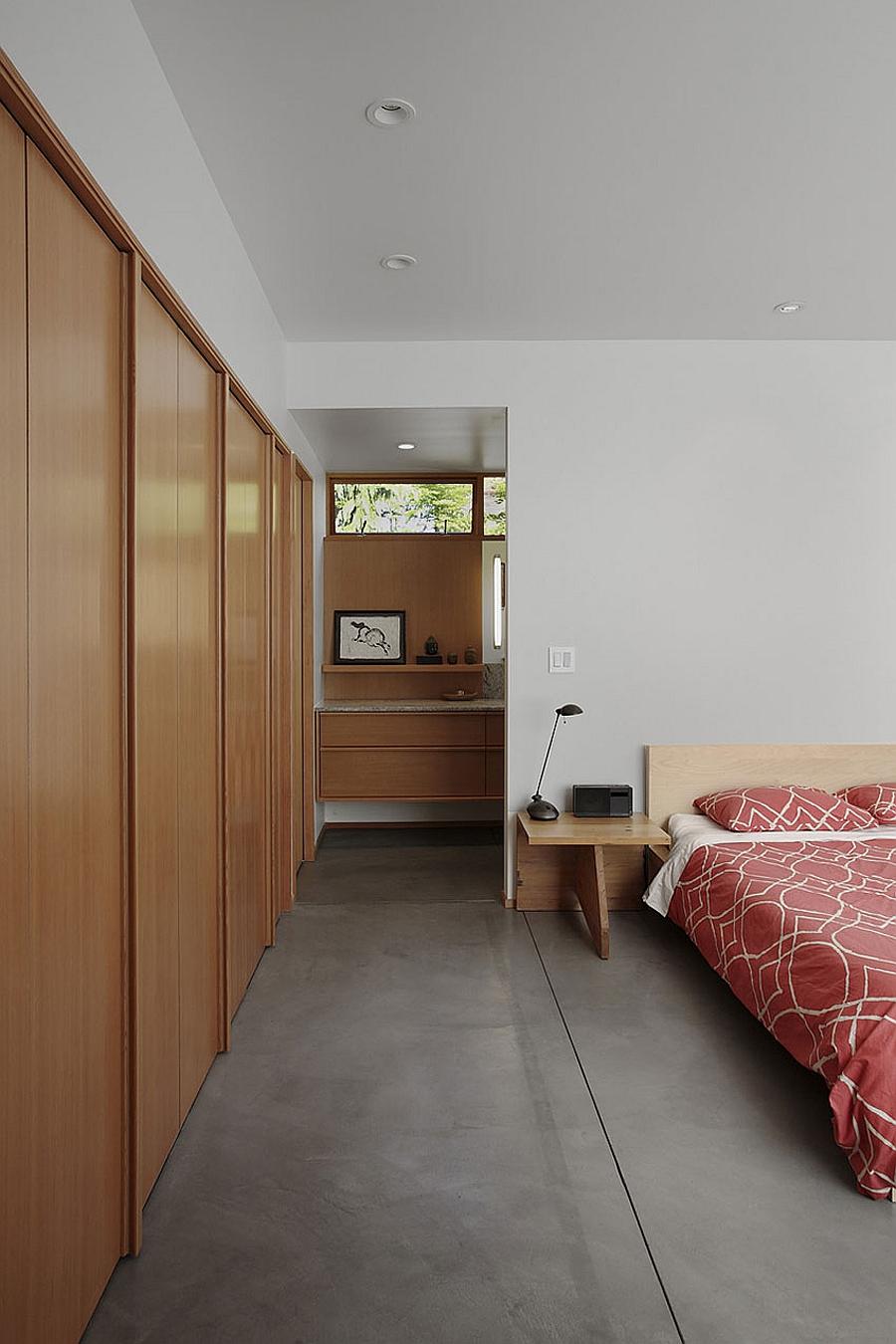 Sleek bedside nightstand and lighting idea