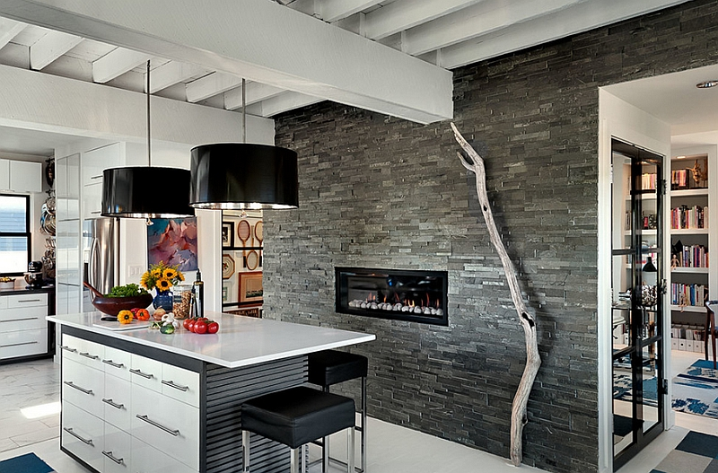 Sleek fireplace in the kitchen