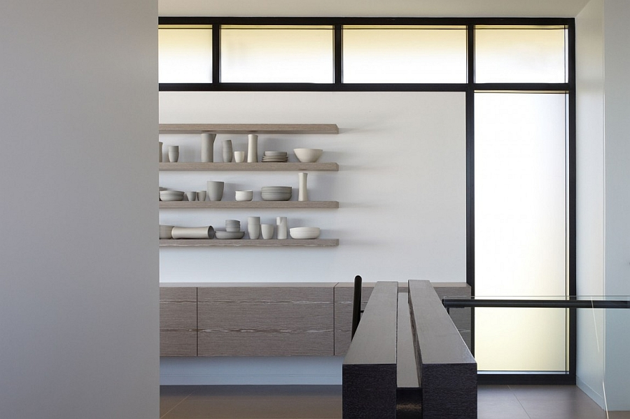 Sleek floating shelves doubles as a lovely display