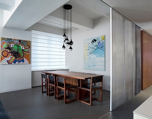 Small dining room tucked away behind sliding doors