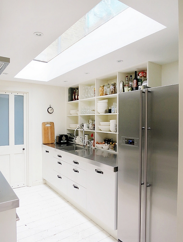 Small modern kitchen with a skylight
