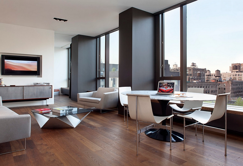 Soho style apartment in New York City with a dashing dining space