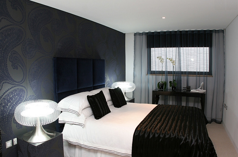Sophisticated contemporary bedroom in London clad mainly in black and white