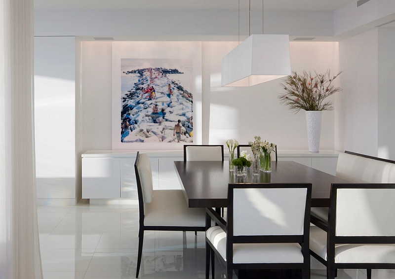 View In Gallery Sophisticated, Minimal Dining Room In Black And White