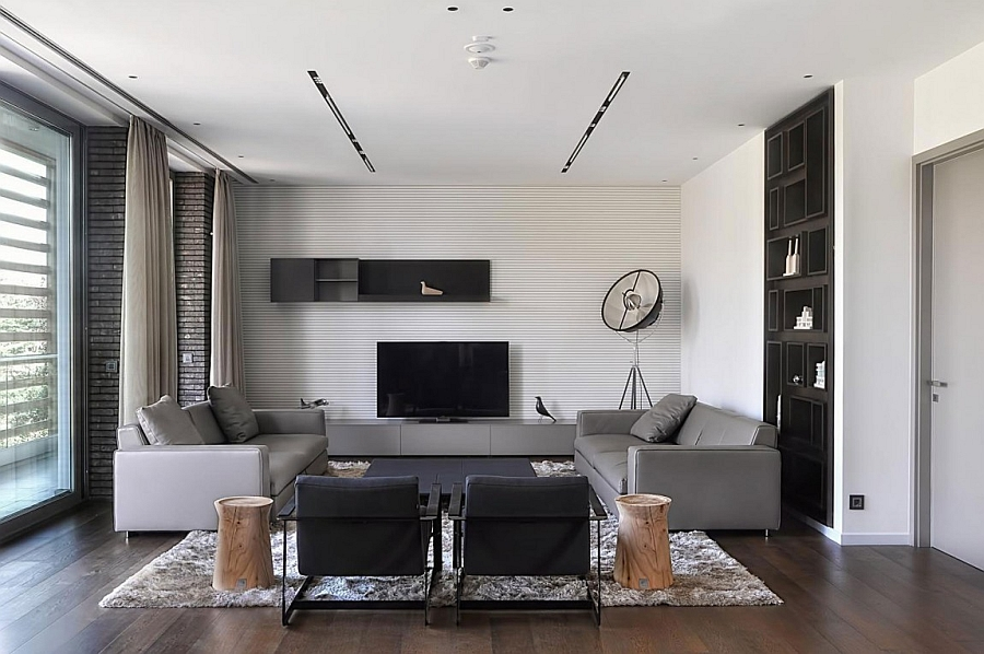 Spacious living room in grey and white Expansive Belgrade Duplex Penthouse Sizzles With Sophistication