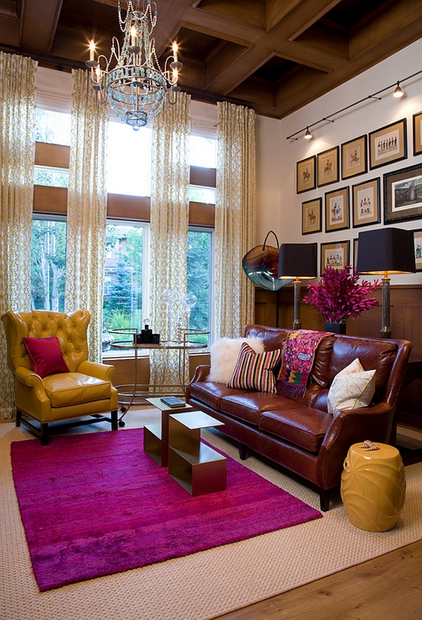 Sparkling living room draped in hot fuchsia and mellow yellows