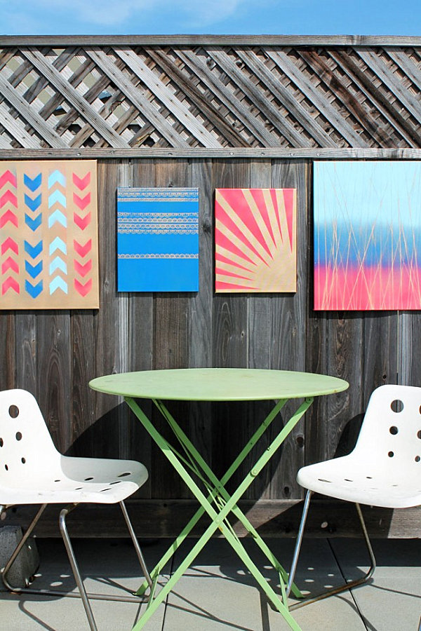 10 diy wall art projects for the outdoors Outdoor fence art ideas
