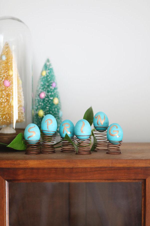 Spring Easter egg display Unique Easter Decorating Ideas
