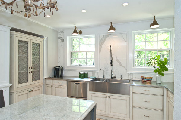 Stainless steel adds a modern touch to a traditional kitchen