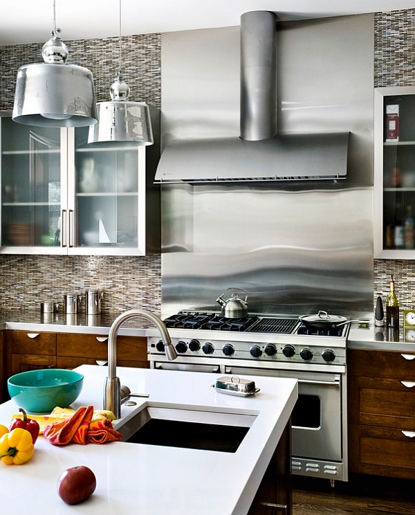 Stainless steel backsplash in the kitchen