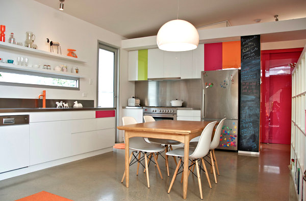 Stainless steel cabinetry in a colorful modern kitchen