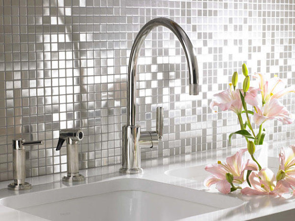 Stainless steel mosaic backsplash