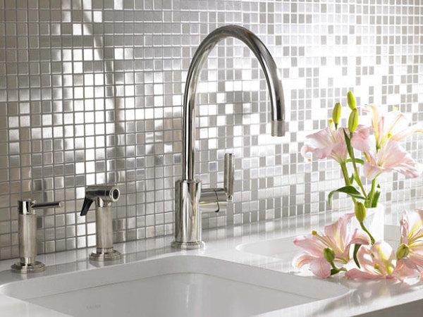 Stainless steel mosaic backsplash