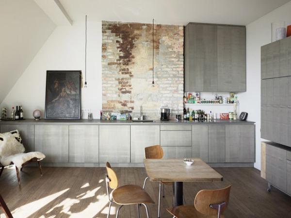 View in gallery Strick of brick backsplash
